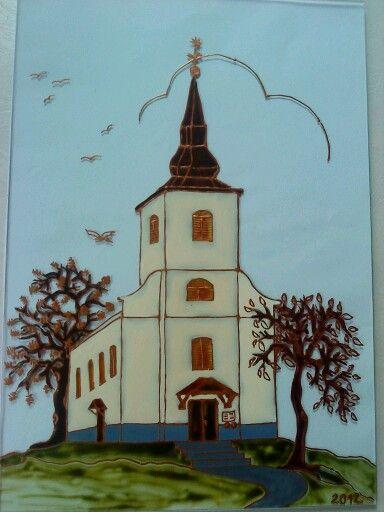 Kézzel festett üvegkép templomról