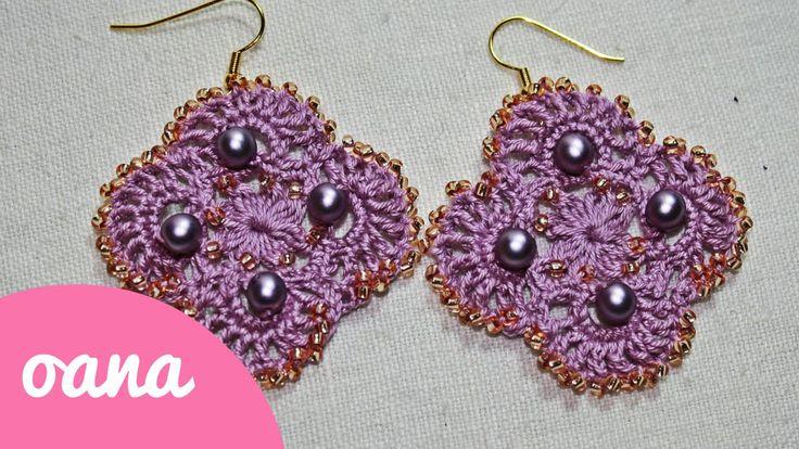 crochet lace & beads earrings