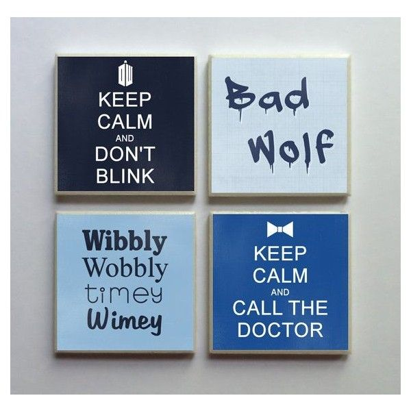 Doctor Who Fandom Ceramic Tile 4-pc. Refrigerator Memo Magnet Set... ❤ liked on Polyvore featuring home, home decor, office accessories and doctor who