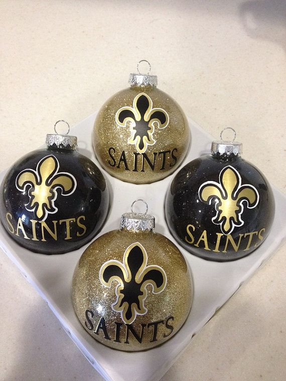 items similar to nfl new orleans saints pittsburg steelers and houston texans personalized christmas themed sports ornaments on etsy