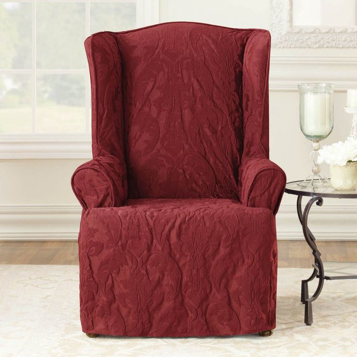 Sure Fit Matlasse Damask 1 Piece Wing Chair Slipcover   40544 Part 93