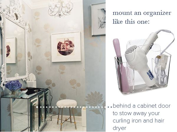 Mount Something Like This Behind Bathroom Counter Doors To Store Blow Dryer  And Curling Irons