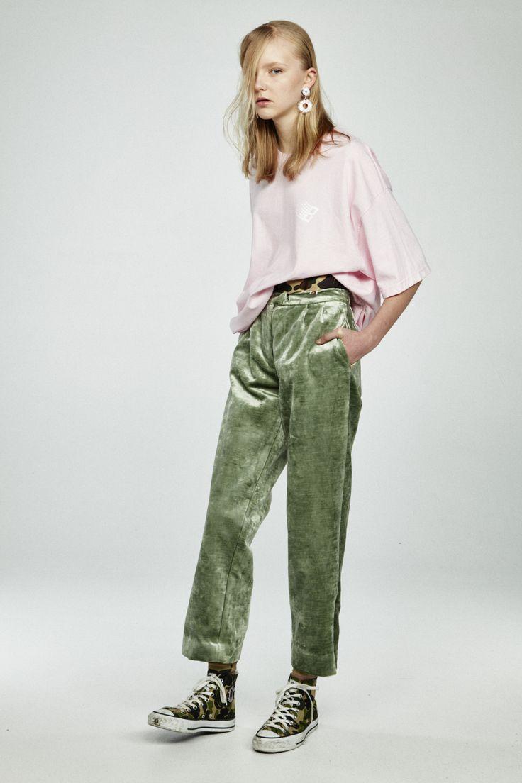 pantalon velours vert amande