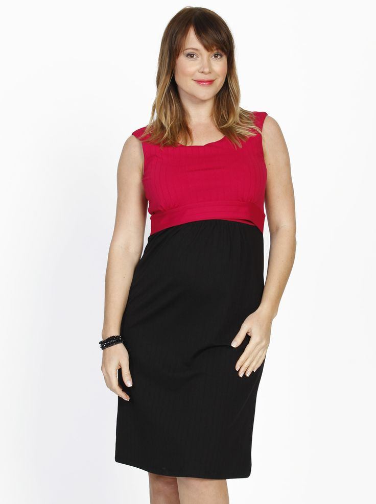 Busy Mummy Sleeveless Nursing Dress, Pink & Black Self Stripe, $59.95, is a stunning two-tone dress that features an under layered nursing panel for easy nursing access.