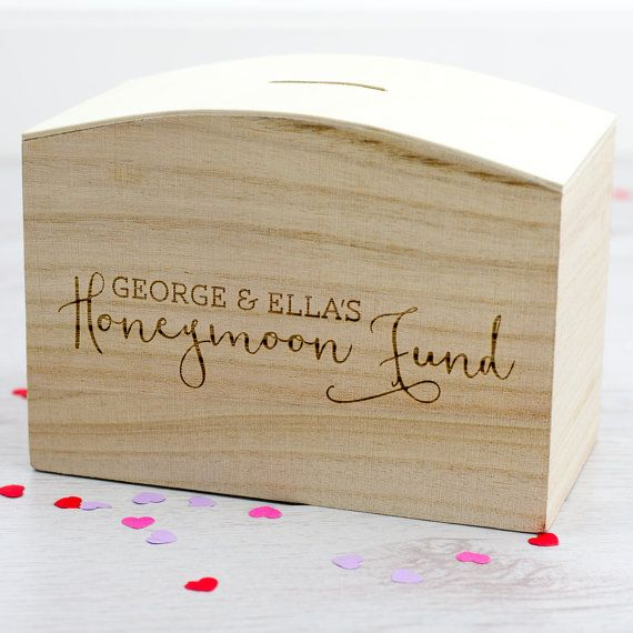 Wooden Money Box  Honeymoon Fund  Personalised Money by Mirrorin