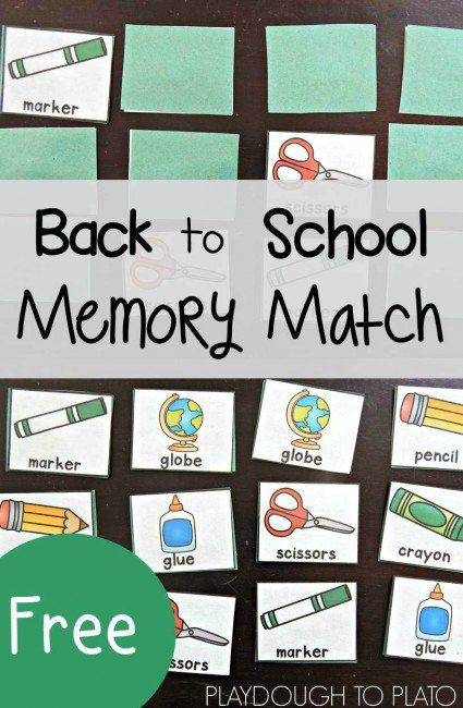 FREE Back to School Memory Match. Low prep, fun back to school activity for kids. Memory games are always a big hit!