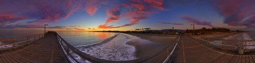 sunset on goleta pier by Bill Heller