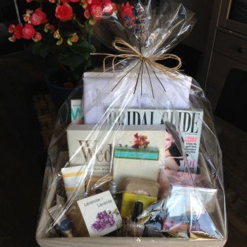 Bridal Gift Basket perfect for an engagement gift for the bride to be.  By Refinery247.com