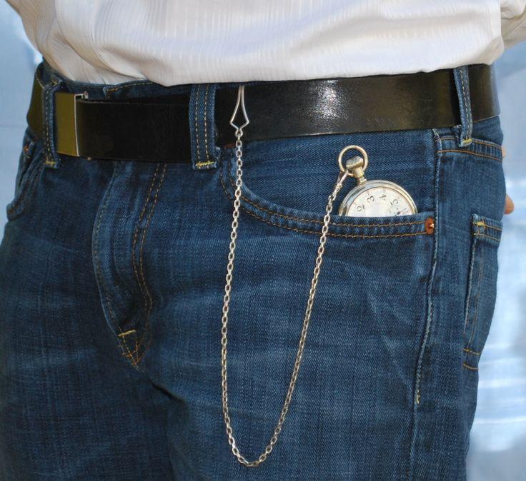 Pocket watch u0026 straight chain (with belt clip) worn from ...