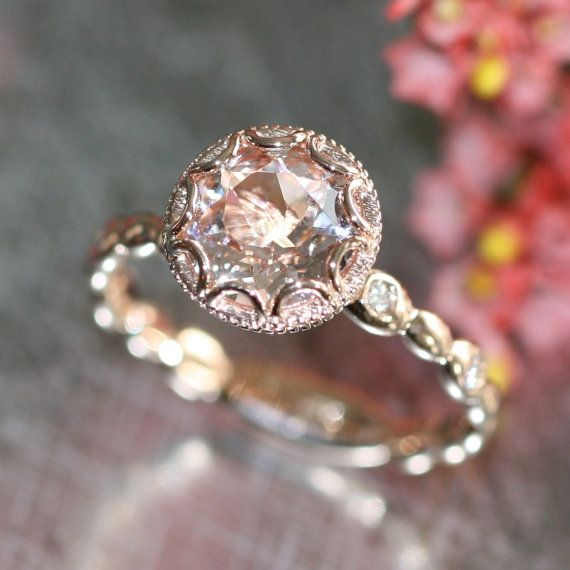 This feminine morgainte ring is crafted in solid 14k rose gold with an 8mm round shaped morganite set into a gorgeous floral basket setting on top