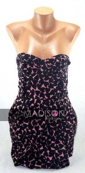 H&M crna i roze korset haljina sa srcima