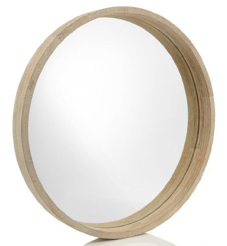 Natural round mirrors and wooden frames on pinterest for Round wood mirror
