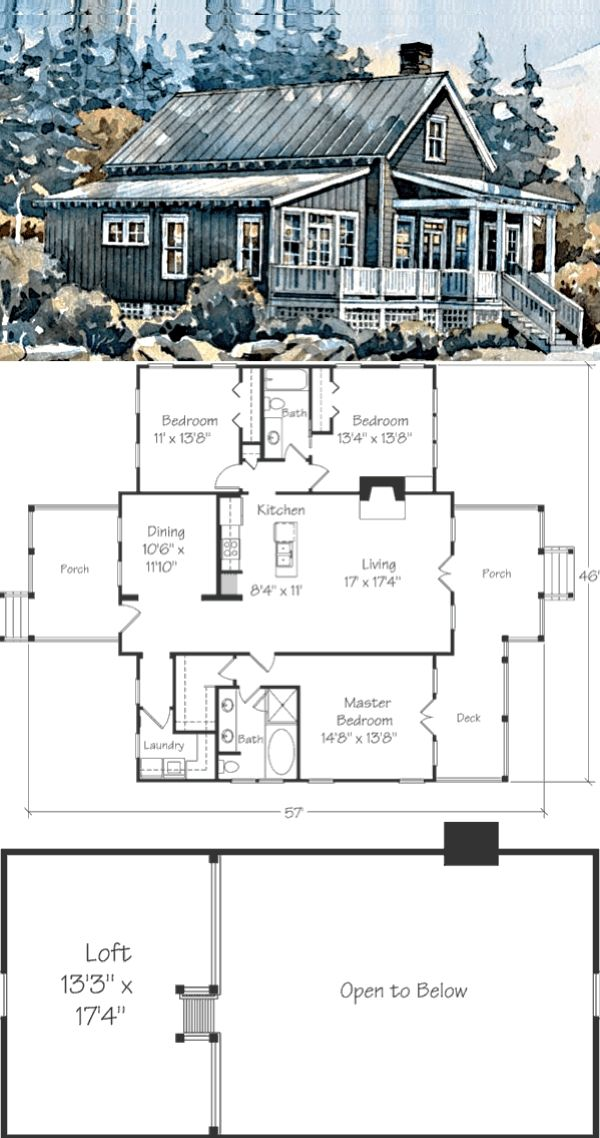 This Graphic Island Cottage 1820 Sqft 3 Bedrooms Plus Loft 2 3 Bedroom Cabin Plans With Loft Previous In 2020 Cottage House Plans House Plan Gallery Lake House Plans
