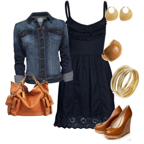 Delicious leather wedges and bag - cute  easy navy sundress