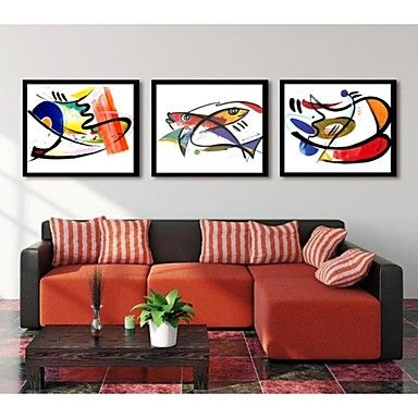 Abstract The Fish Adornment Picture Framed Canvas Print Set of 3 – GBP £ 58.39
