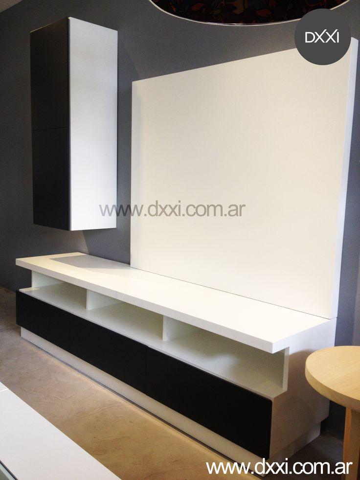 Mueble para tv modelo lacroze 3 cajones con correderas for Mueble 3 estantes