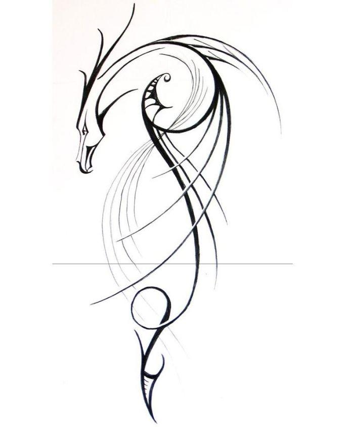 Drache-lineare Darstellung-Ideen für stylische Tattoovorlagen