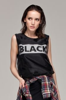BLACK Printing Double-layered Vest(Black)