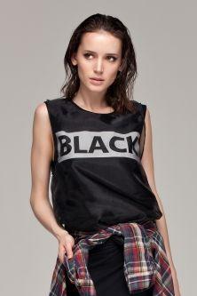 BLACK Printing Double-layered Vest(Black)