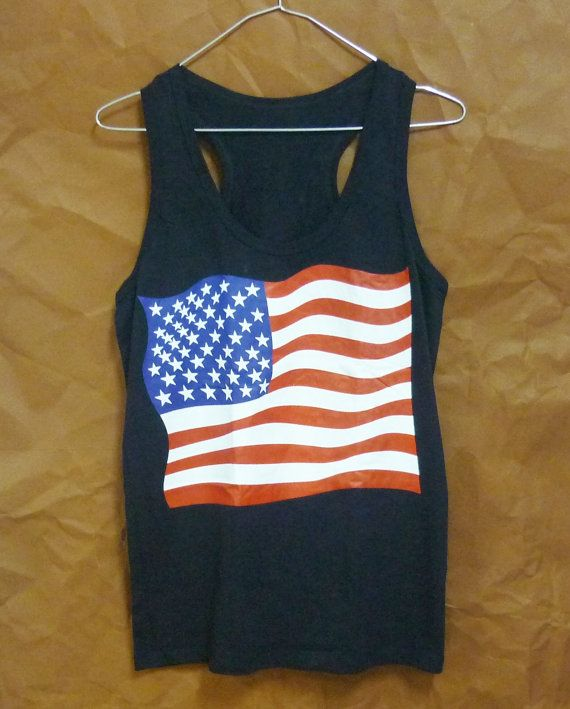US flag tank top American flag shirt sleeveless by WorkoutShirts