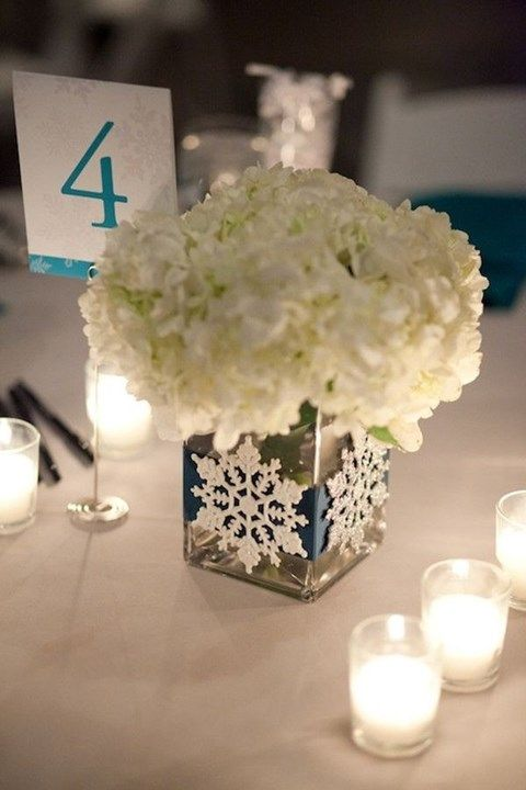 1000 ideas about snowflake centerpieces on pinterest for Winter themed wedding centerpieces