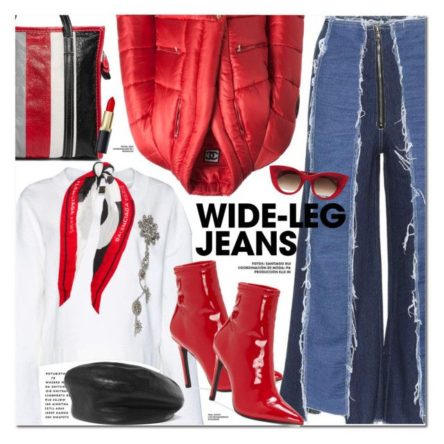"""Wide-Leg Jeans"" by oshint ❤ liked on Polyvore featuring Rejina Pyo, Burberry, Chanel, Jessica Simpson, Balenciaga, Eugenia Kim, Thierry Lasry, denimtrend and widelegjeans"