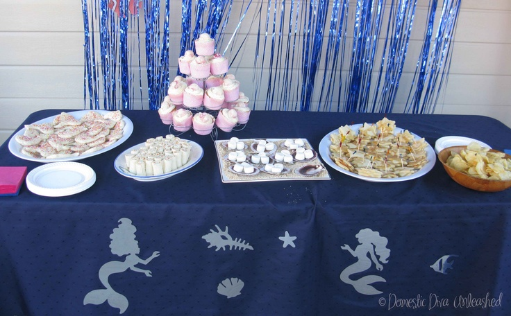 Domestic Diva: Party Food table - Under the sea / Mermaid theme. Food and loot bag ideas suitable for the Failsafe Diet.