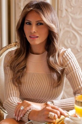 Melania Trump in JBrand jeans and Melania Jewelry.       Among her beauty secrets: to run on the treadmill and she likes tennis. ...