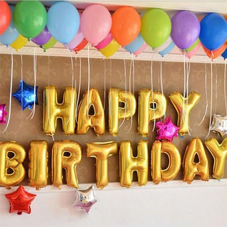 "13Pcs ""HAPPY BIRTHDAY"" Letters Foil Balloons For Birthday Party Decoration"