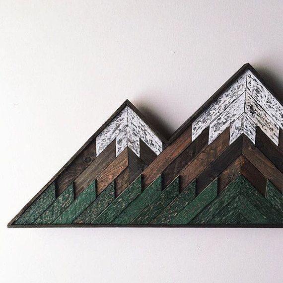 Wood Mosaic Double Peak Mountain Art by BearHandsGoods on Etsy