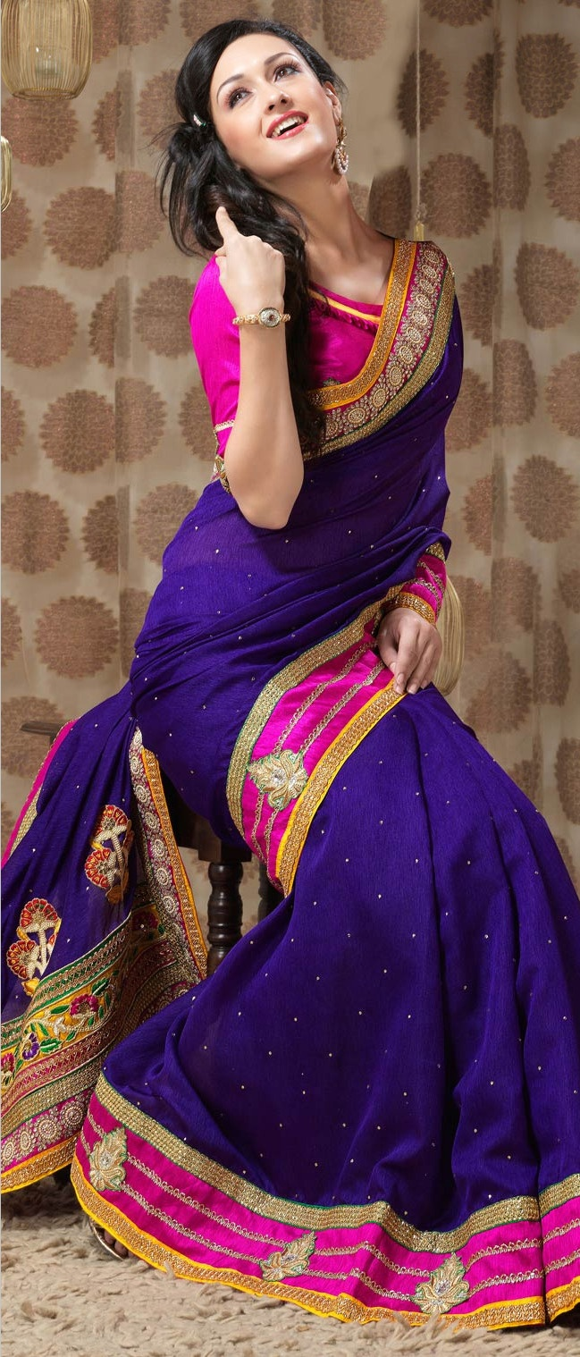 #Purple Art #Silk #Saree with Blouse @ $148.84