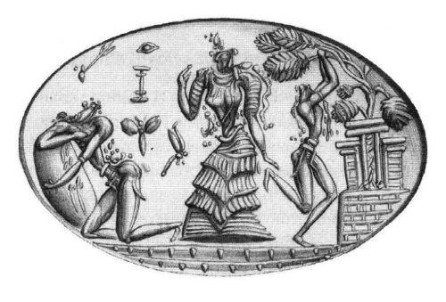 Anello- sigillo in oro massiccio; ritrovato a Phourni, presso Archanes, conservato al Museo Archeologico di Iraklion e risalente al XIV-XIII secoloa. C.