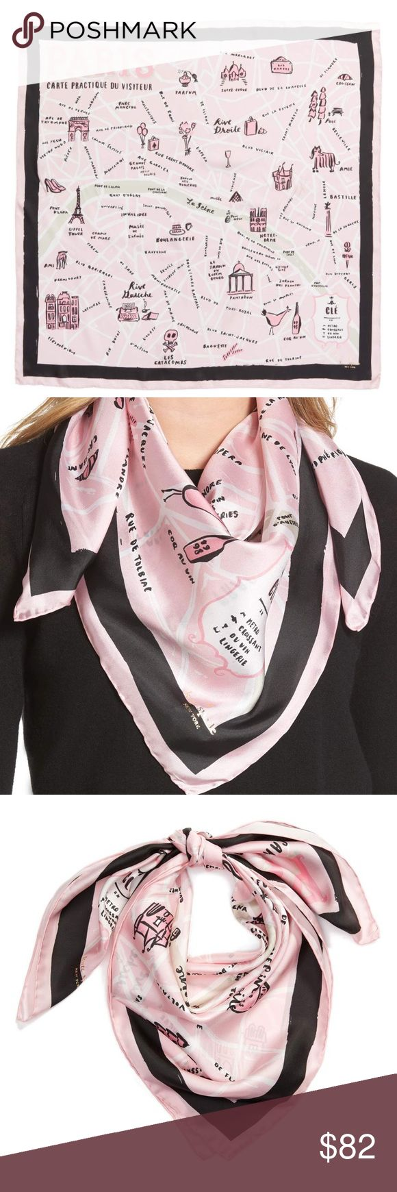 """NWTs Kate Spade Paris Silk Scarf A square silk scarf perfect for Francophiles is printed with a map of La Ville-Lumière and framed by a crisp black border stripe. 34"""" square 100% silk Dry clean Imported  firm price  No trades kate spade Accessories Scarves & Wraps"""