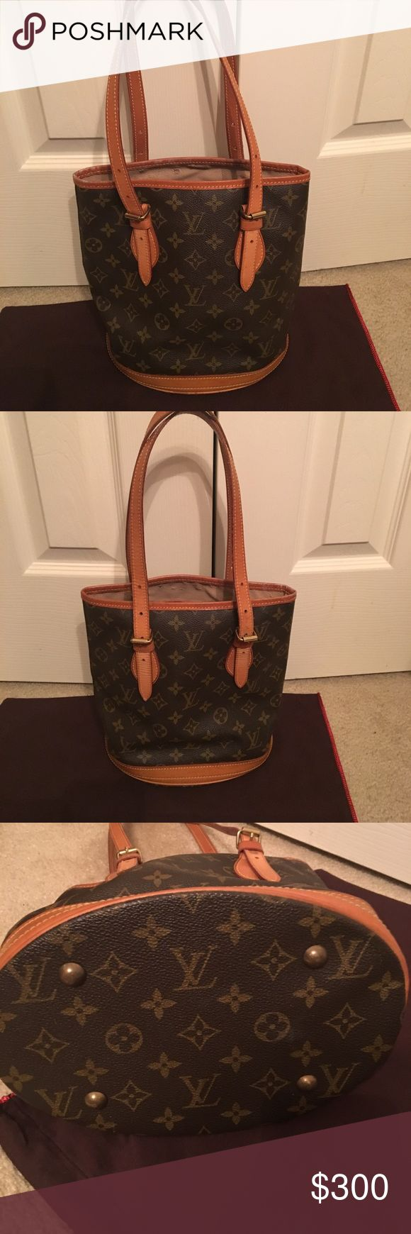 Authentic LV small bucket bag ❤️❤️ Authentic LV bucket bag! In good used condition. Inside is a little sticky like LVs get. But has a lot of life left ❤️😘💋💕😊🐬🦋🌹TV will be higher Louis Vuitton Bags Shoulder Bags
