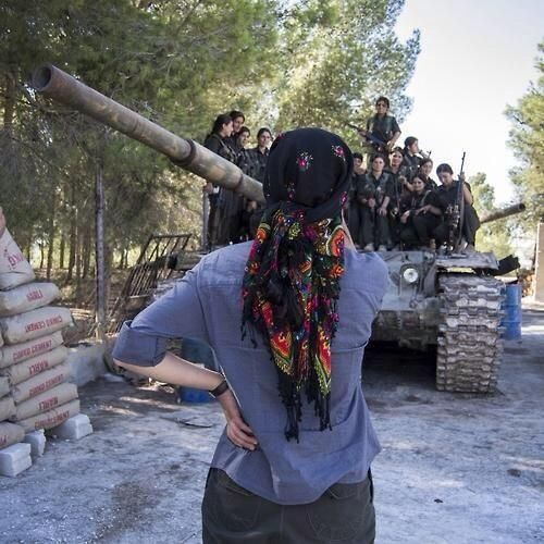 Kurdish Ladies capture an #ISIS Tank, #Kobani - Yeeeeesssssss GO KURDISH LADIESSSSSS