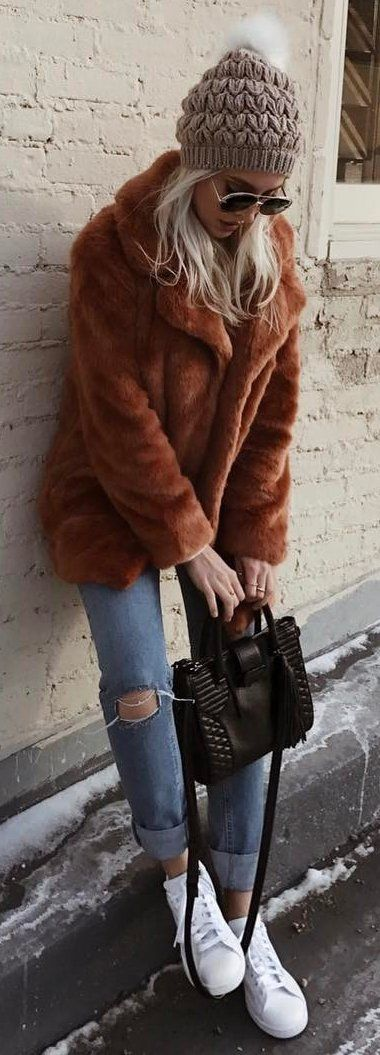 #winter #fashion /  Grey Beanie / Brown Fur Coat / Destroyed Jeans / White Sneakers
