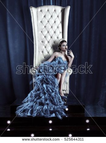 the snow queen in the crown on the throne