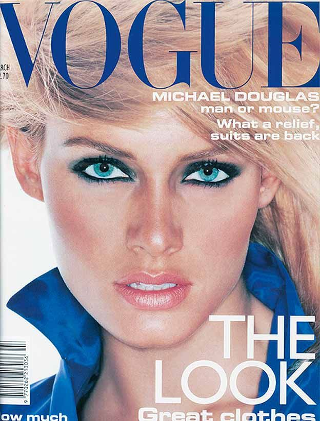 March 1995 The eyes have it. Heavy eye make up on a fresh complexion with Jil Sander Moisture makeup No11 and Lancaster Nougatine Transparent Powder blush. Photography: Nick Knight. Hair: Julien d'Ys. Make-up: Linda Cantello.