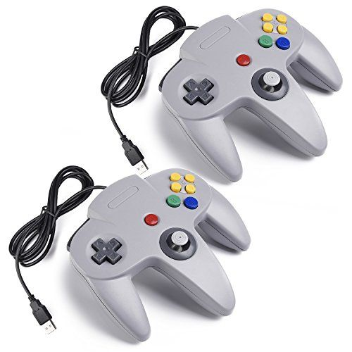 awesome iNNEXT 2x USB para Nintendo 64 N64 Control Gamepad Joystic Mando de juegos para PC Mac Windows (Gris x 2)