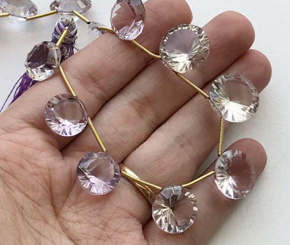 Pink Amethyst Beads Pink Amethyst Concave Cut by gemsforjewels