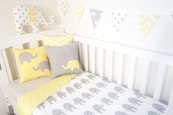 Grey and yellow elephant spot nursery set by MamaAndCub on Etsy