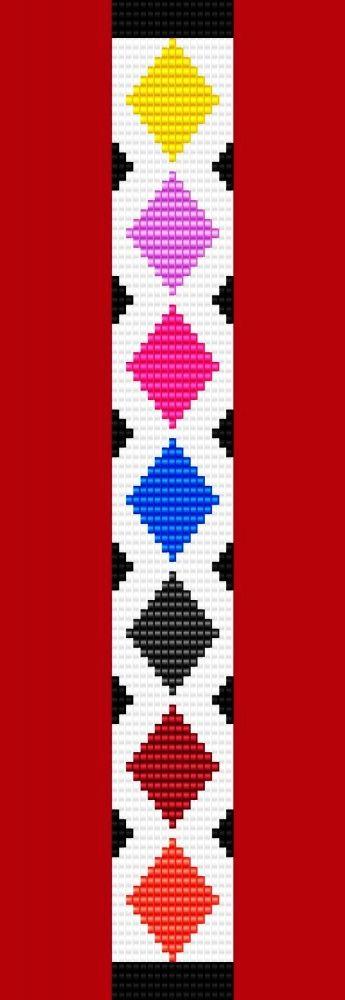 Diamond: Argyle Diamond Bracelet Thin Bead Bracelet Pattern Loom Stitch - Bracelets