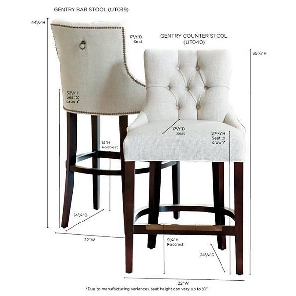 This upholstered bar stool features a button-tufted back that is gently bowed and sweeps out at the seat for reassuring comfort.