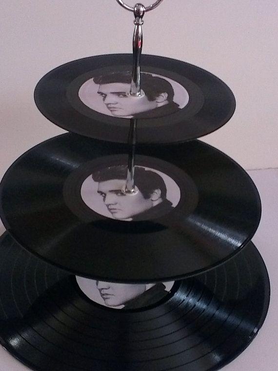 Elvis Presley 3 Tier Vinyl Record Cake Stand by vinylwallyork, £12.99