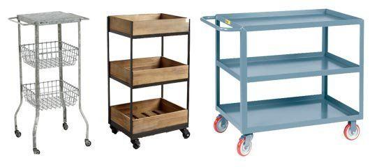 Storage Where You Need It: Rolling Utility Carts Wood cart from world market