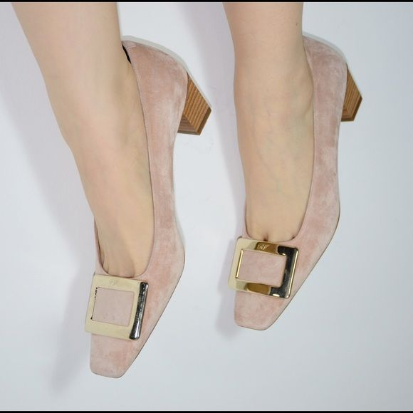 Roger Vivier nude flats Nude suede Roger Vivier flats with RV signature buckle at toe, new and never worn Roger Vivier Shoes Flats & Loafers