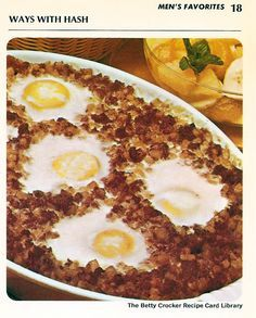 Crusty Beef Hash With Eggs Heat oven to 350°. Spread 2 cans (15 ounces each ) canned corned beef or roast beef hash in greased 1 1/2 quart baking dish. Bake 15 minutes or until heated through. ...