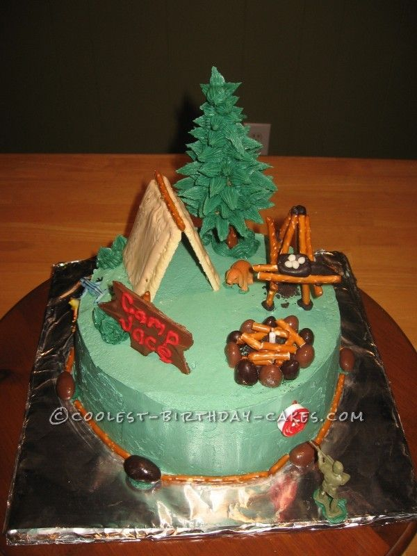 You-Can-Do-It Camping Cake ...This website is the Pinterest of birthday cakes