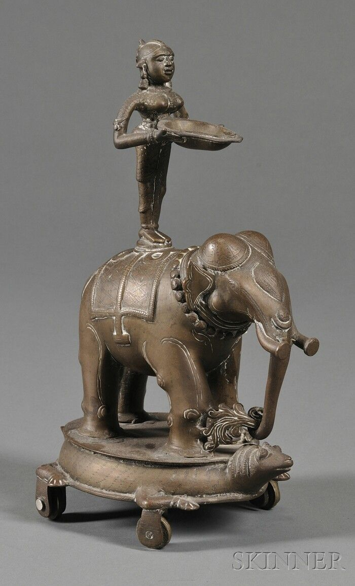 Stacked elephant lamp - Bronze Lamp India 19th Century A Caparisoned Elephant Atop A Wheeled Tortoise Surmounted