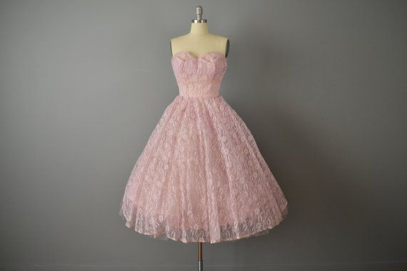 Vintage 50s Strapless Pink Lace and Tulle by OffBroadwayVintage, $235.00